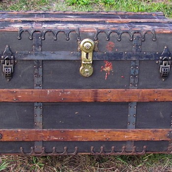 1880's   M. Cherry  of  New York    Canvas & Iron Flat Top Trunk   - Furniture