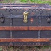 1880's   M. Cherry  of  New York    Canvas & Iron Flat Top Trunk