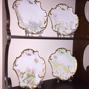 Victorian Limoges France Hand Painted Plate Set - China and Dinnerware