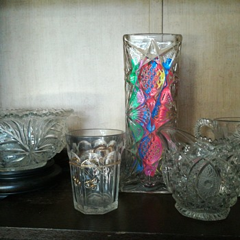 US Glass Co. Illinois pattern straw holder, sans lid c.1897