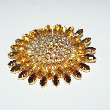 Large Rhinestone Brooch Made in Austria - Costume Jewelry