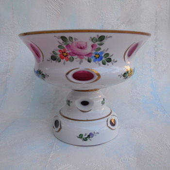 Czech Bohemian Moser? Cased Glass Cut To Cranberry Hand Painted Pedestal Bowl - Art Glass