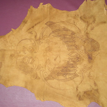 CALIFORNIA 1928 EARLY BRANDED LEATHER HIDE - Native American