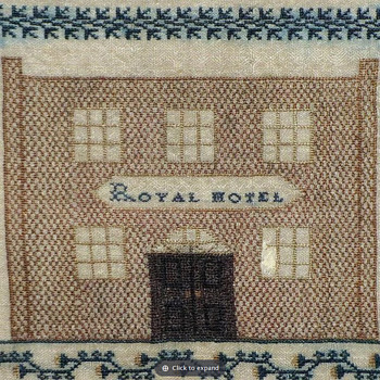 Square Silkwork Sampler Eliza Caitle Royal Hotel Bath UK Dated 1834  - Folk Art