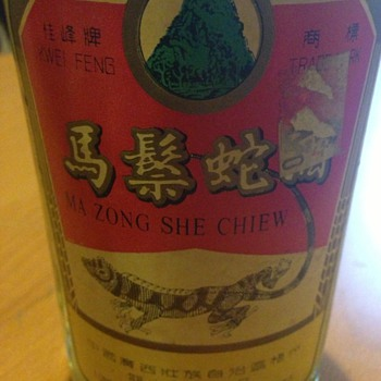 A bottle of Lizard rice wine  - Animals