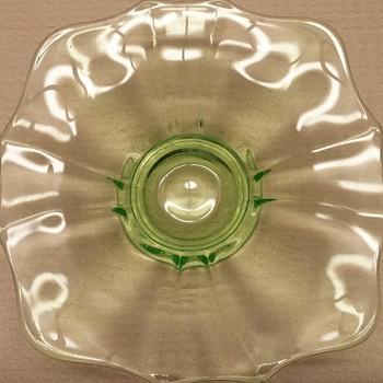 Square Green Depression Glass Dish - Glassware