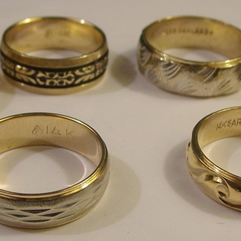 Vintage 14k Decorative Wedding Bands 1950's & 60's