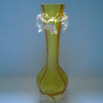 Welz Vase with Clear Rigaree and Feet - Art Glass