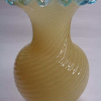 Victorian cased opalescent glass vase - Art Glass