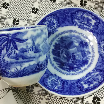 C. 1870s Blue Transferware Cup & Saucer; Middle Eastern Theme - China and Dinnerware