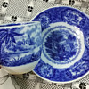 C. 1870s Blue Transferware Cup & Saucer; Middle Eastern Theme