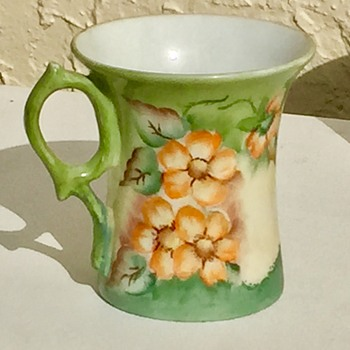 Hand Painted Hibiscus on Porcelain Cup Signed by Rosa - Pottery