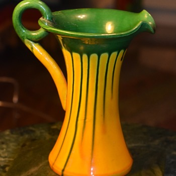 Art Deco Awaji Pitcher - Green and Yellow Spill Decoration - Asian
