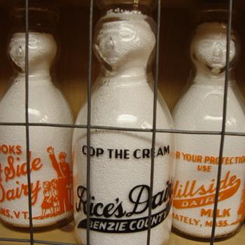 RICE'S DAIRY COP THE CREAM MILK BOTTLE....BENZONIA MICHIGAN - Bottles