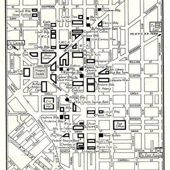 Circa 50s Era Map of Downtown  Buffalo, NY - Paper