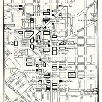 Circa 50s Era Map of Downtown  Buffalo, NY