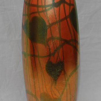Imperial FreeHand Heart & Vine Vase - Art Glass