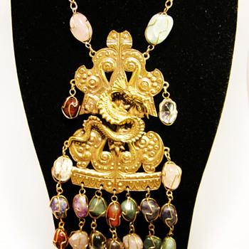 Vintage Accessocraft N.Y.C. Dragon with Gemstones Necklace