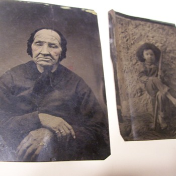 TWO TINTYPES-YOUNG BOY AND OLD WOMAN - Photographs