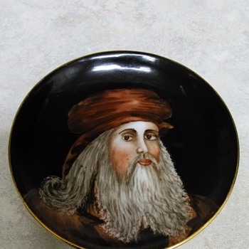 PAINTED PORTRAIT PLATE OF LEONARDO DA VINCI - Fine Art