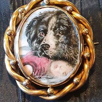 Victorian enamel swivel brooch, Newfoundland dog and dead child! - Fine Jewelry