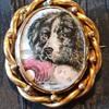 Victorian enamel swivel brooch, Newfoundland dog and dead child!
