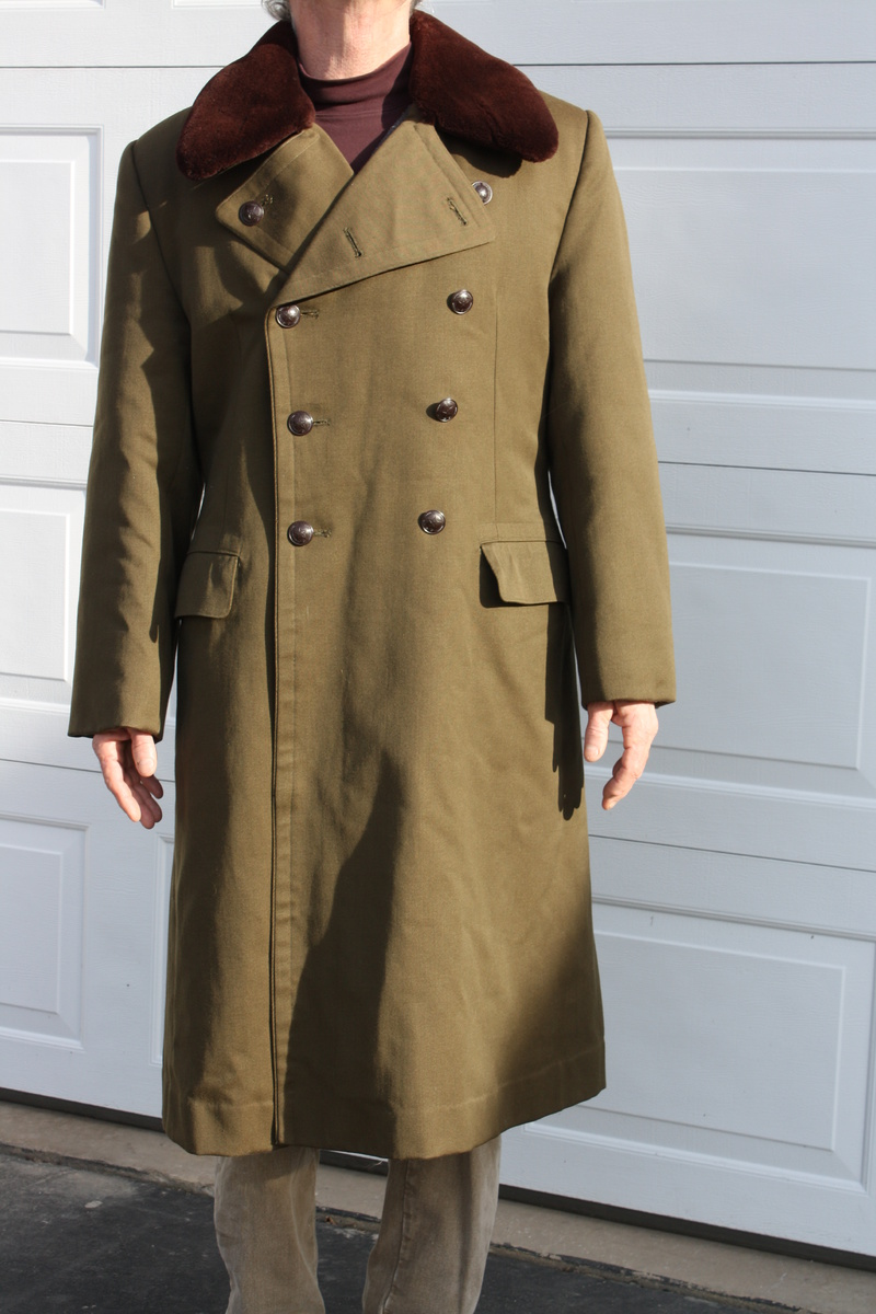 Military ? long coat label three,four,one five w/ asian