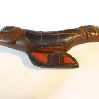 west coast native carved raven