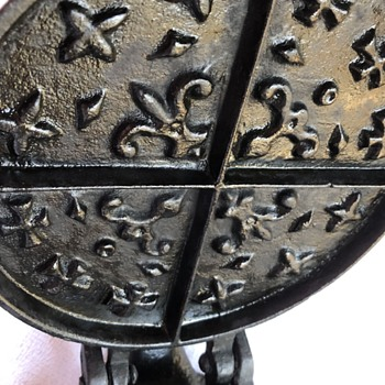 Waffle maker, antique cast iron, Fleur-de-lis and cross pattern.National Waffle Day is tomorrow- August 24!  Celebrate!! - Kitchen