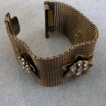 Mesh rose gold bracelet w/flower accents - Costume Jewelry