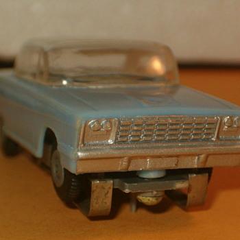 1/64TH ATLAS H.O. SLOT CAR BABY BLUE NEAR MINT - Model Cars