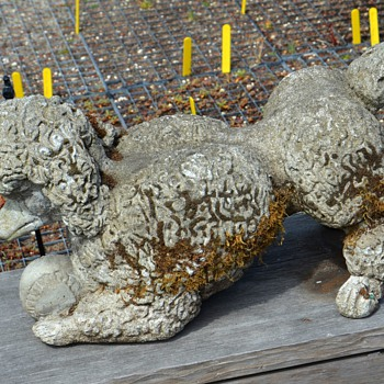 More Garden Poodles - Probably Mid-Century - Great Moss on one of them! - Animals