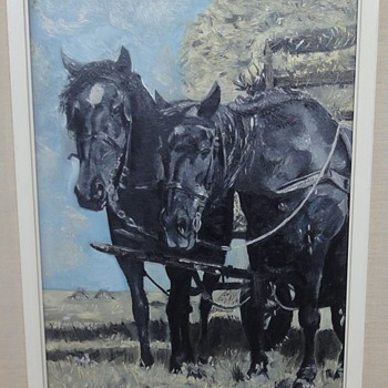 Two black horses for a hay wagon by my father Steven - Animals