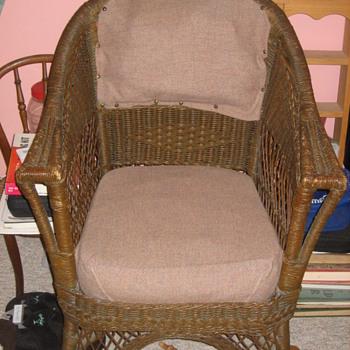 A wicker chair.  - Furniture