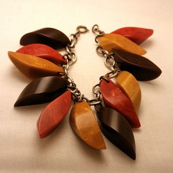 Bakelite chunky charm bracelet in Fall colors - Costume Jewelry