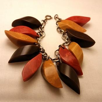 Bakelite chunky charm bracelet in Fall colors - Costume Jewelry