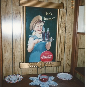 "1944 16"" x 27"" Coca-Cola Cardboard Sign With Gold Wood Frame - Coca-Cola"