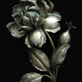L.LEXCELLENT  rose flower silver brooch N°2 - Art Nouveau