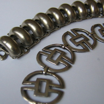 Brushed silver domed bracelet & more 1950's-60's examples - Costume Jewelry