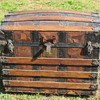 1880's Leather Barrel Stave Trunk