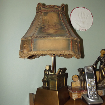 Beethoven at Piano Lamp with Original Shade Signed John Ruhl and J B Hirsch 1932