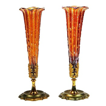 Pair Rare Durand Red Ribbed Crackle Vase Lamps. 1920's - Art Glass