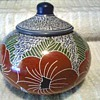 Interesting Sgraffito  Pottery Jar with Lid / Poppy Floral Design / Unknown Maker or Age