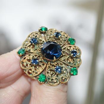 Vintage Rhinestone Brooch - Czechoslovakia - Costume Jewelry