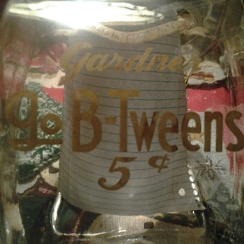 "Gardner ""Always In Good Taste"" 5 cents side loader jar - Advertising"