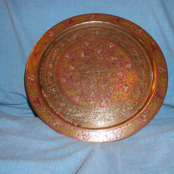 Brass with inlay plate. - Asian