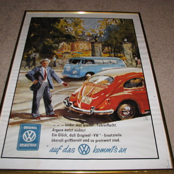 Vintage VW Poster - Classic Cars