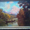 "Hudson River Style-Tonalist ""Moose Hunting on the River"" (?) Oil on Canvas 33 "" x 27 "" Framed /Unsigned Circa 19th-20th Century"