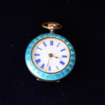 Argent Dore Swiss Enamel Ladies Pocket Watch - Pocket Watches