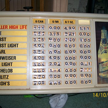 Miller High Life lighted pricing sign - Signs